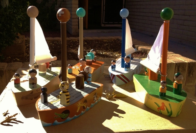 handmade wooden toy ships