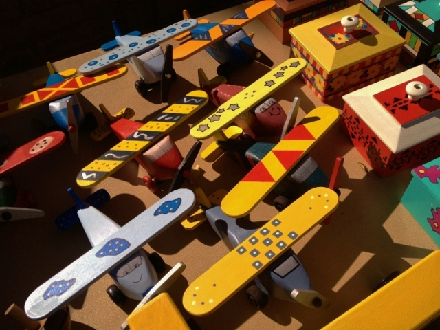 handmade wood toy planes