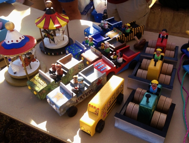 handmade wooden trucks and buses