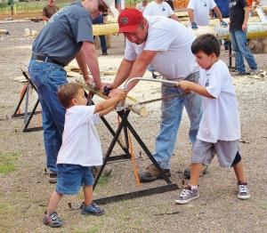 children log cutting